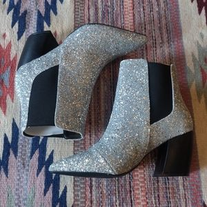 Lulu's Cecy Glitter Silver Pointed Toe Ankle Boots